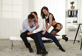 Horny bisexual dudes suck each other off bi office 02