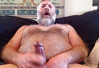 Handsome fat bear cums on his own face