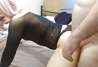 Crossdresser sissy fucked doggy style and cremapie on ass