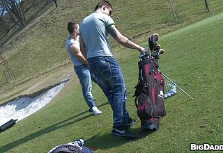Stunning fellows frolicking golf