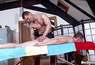 Oily rubdown for his muscles and chisel