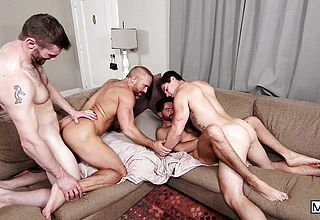 Mischievous muscular fellows pulverizing on the bed