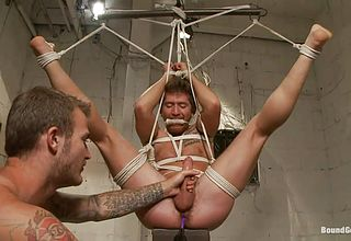 Roped queer with his gams stretch receives a deep pulverize