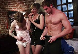 Crossdressing breezy dude is made to inhale thick man meat